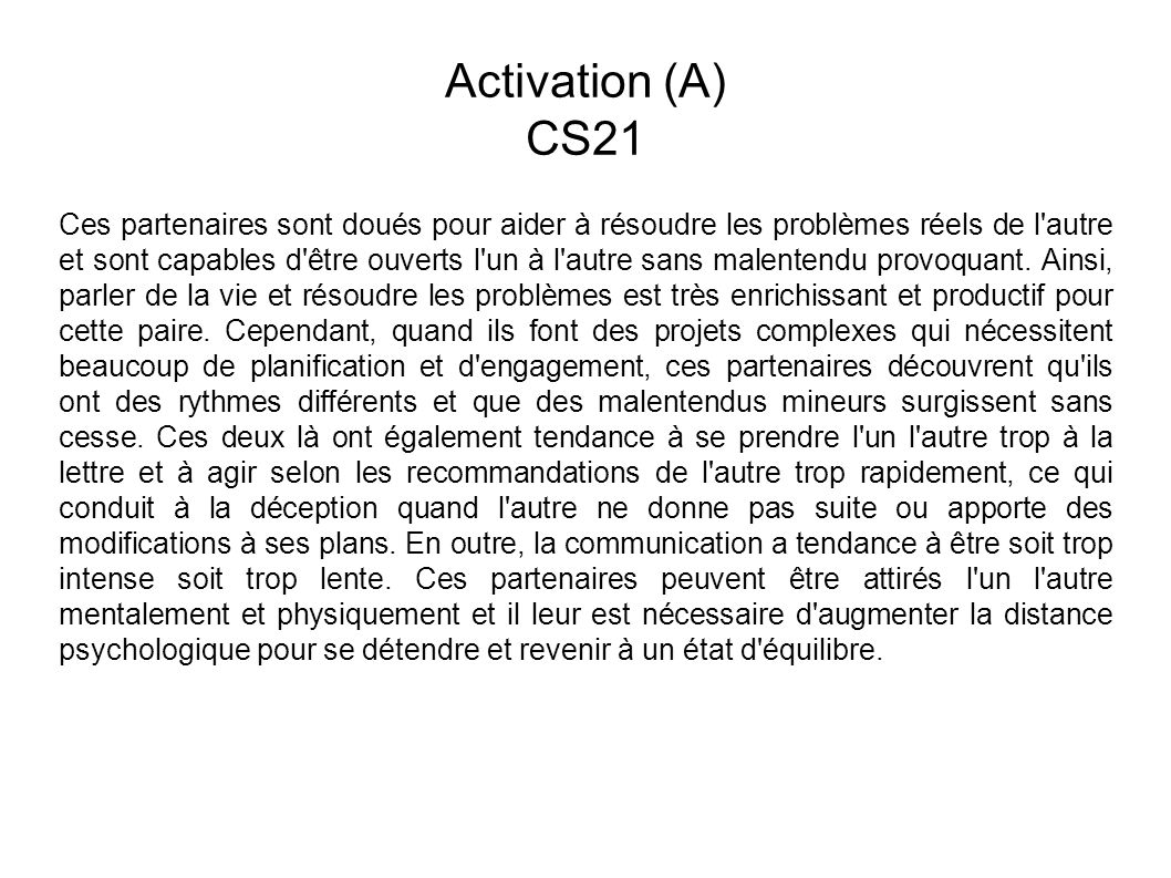 Activation (A) CS21.