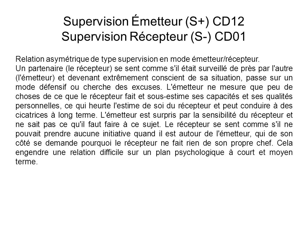 Supervision Émetteur (S+) CD12 Supervision Récepteur (S-) CD01