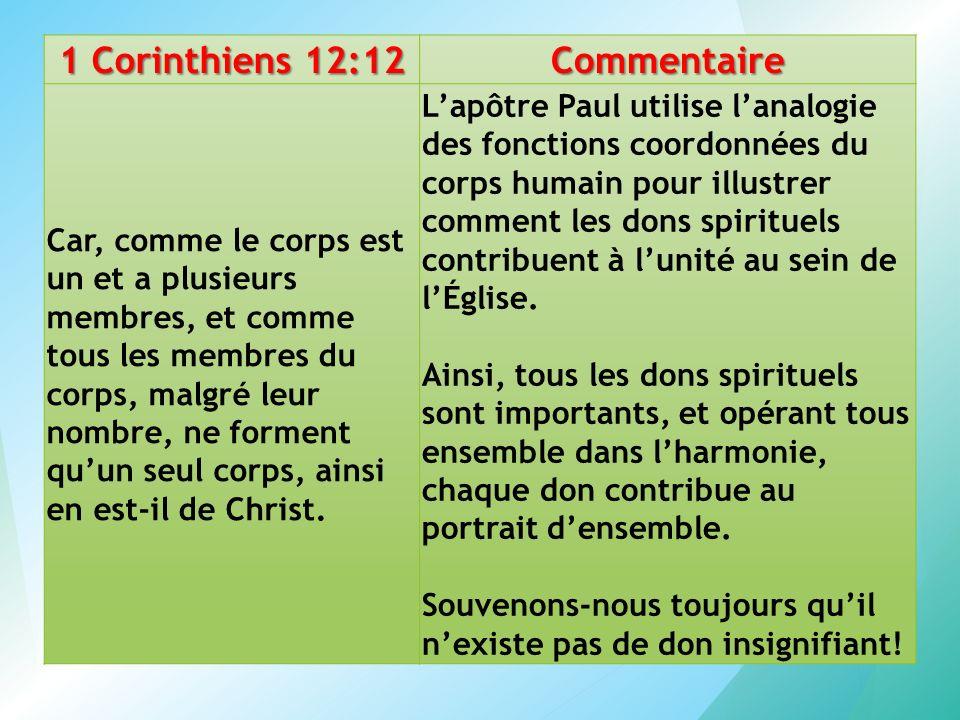 1 Corinthiens 12:12 Commentaire