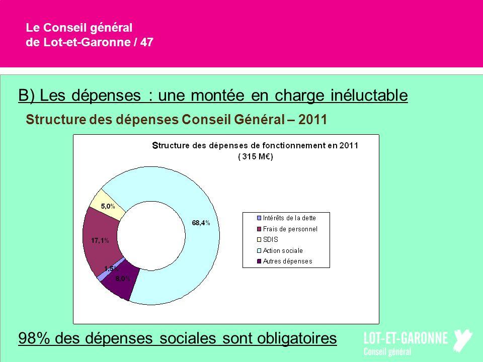B) Les dépenses : une montée en charge inéluctable