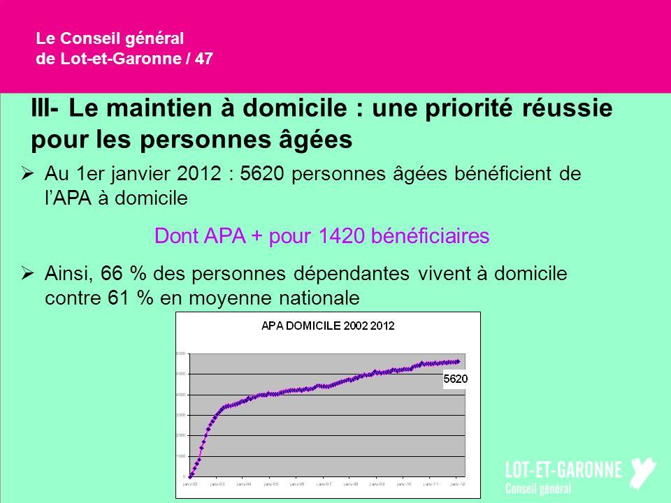 Le Conseil généralde Lot-et-Garonne / 47. III- Le maintien à domicile : une priorité réussie pour les personnes âgées.
