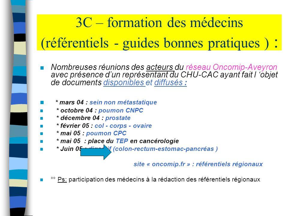 3C – formation des médecins (référentiels - guides bonnes pratiques ) :