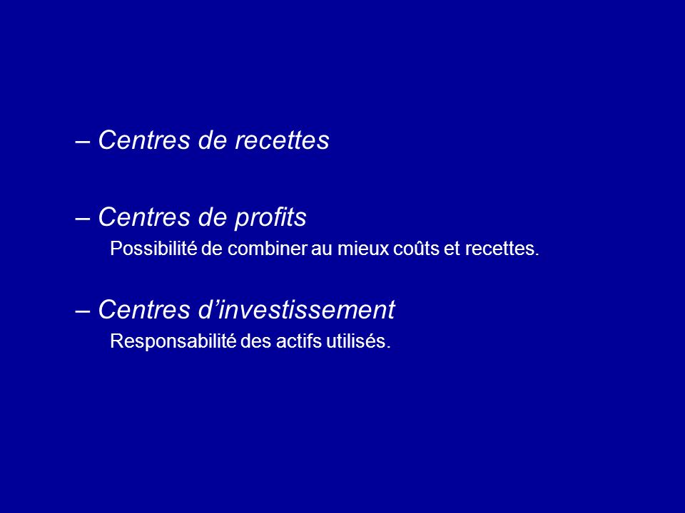 Centres d'investissement