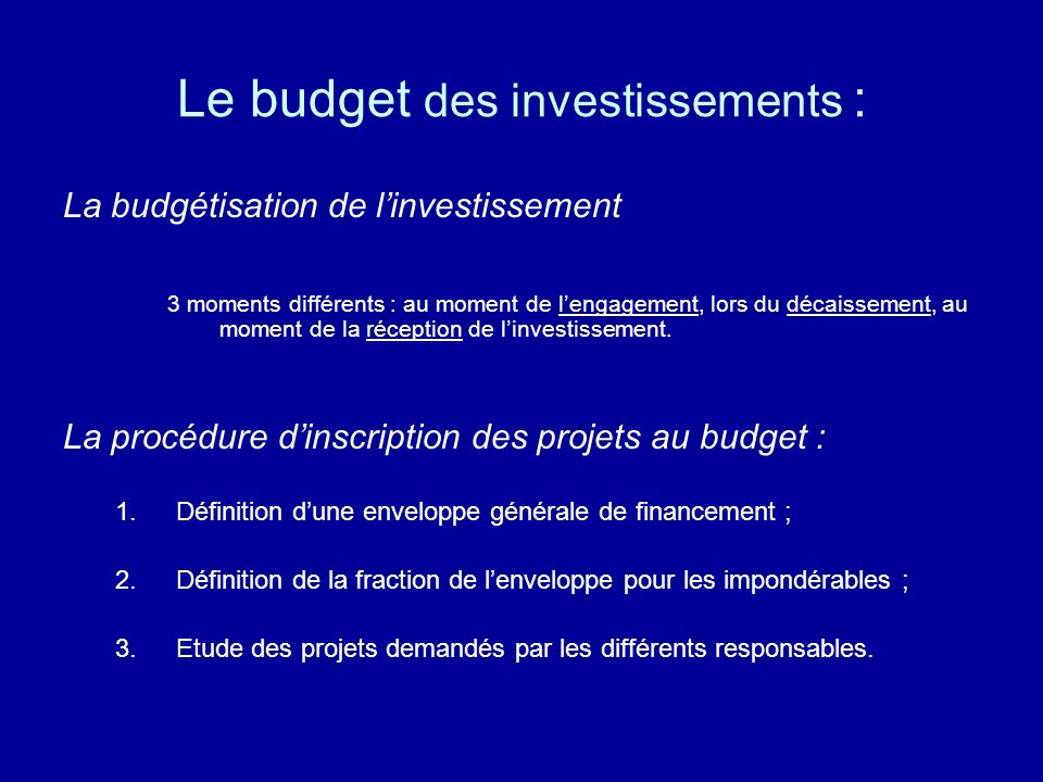 Le budget des investissements :