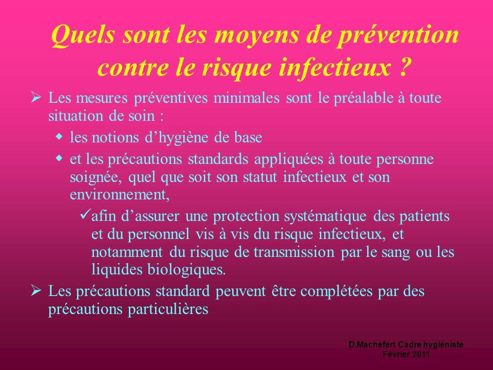 Quels sont les moyens de prévention contre le risque infectieux