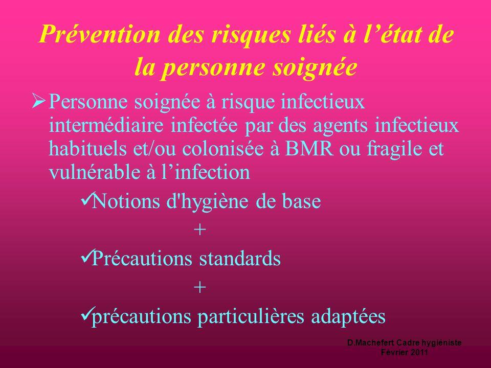 Prévention des risques liés à l'état de la personne soignée