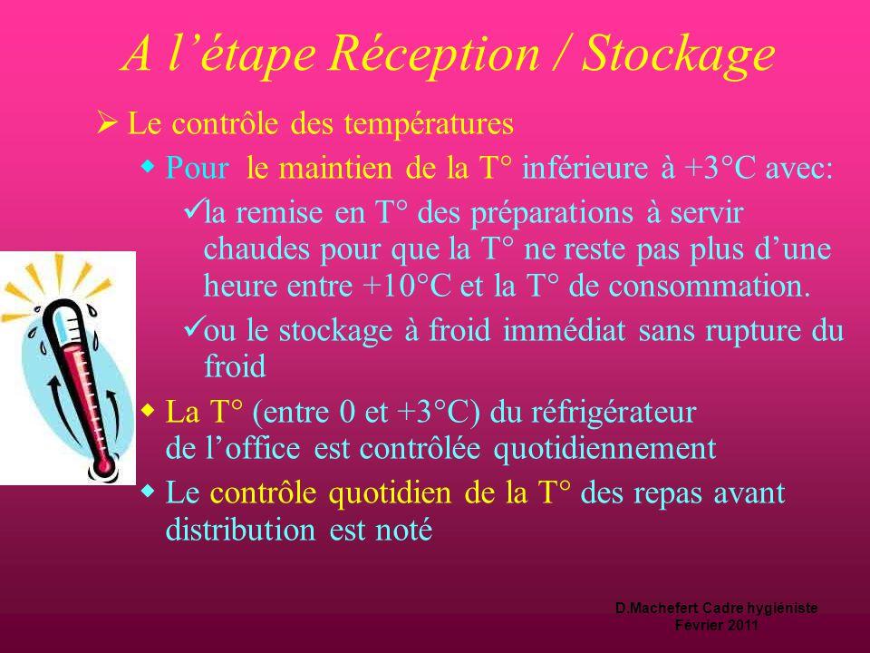A l'étape Réception / Stockage