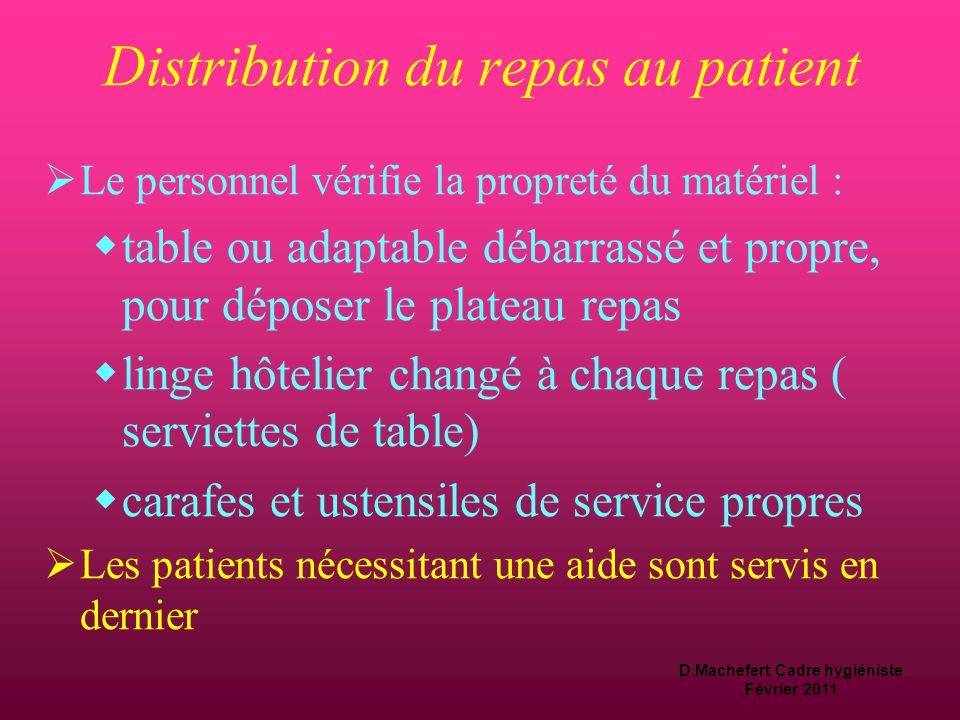 Distribution du repas au patient