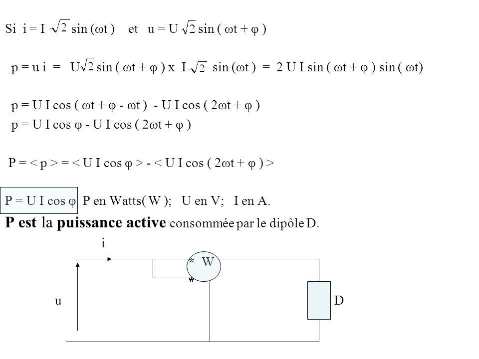 P est la puissance active consommée par le dipôle D.