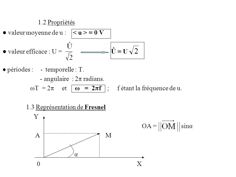 ● valeur moyenne de u : < u > = 0 V