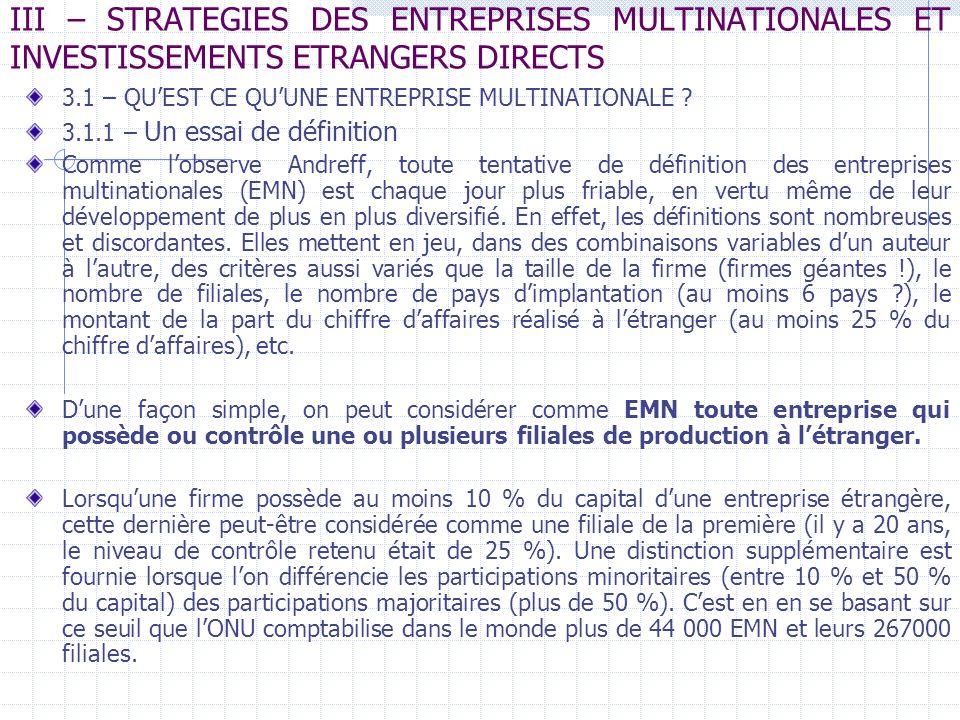 III – STRATEGIES DES ENTREPRISES MULTINATIONALES ET INVESTISSEMENTS ETRANGERS DIRECTS