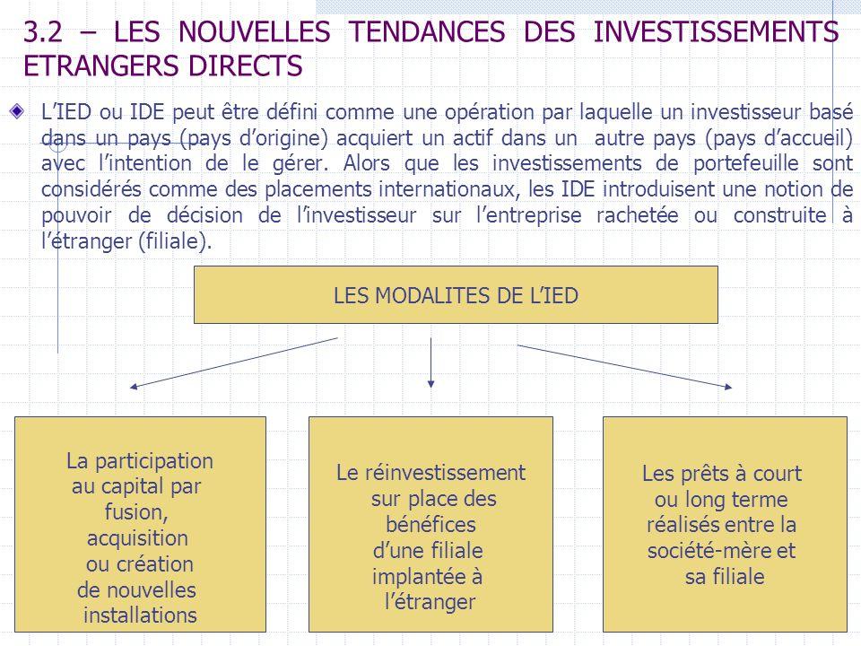 3.2 – LES NOUVELLES TENDANCES DES INVESTISSEMENTS ETRANGERS DIRECTS