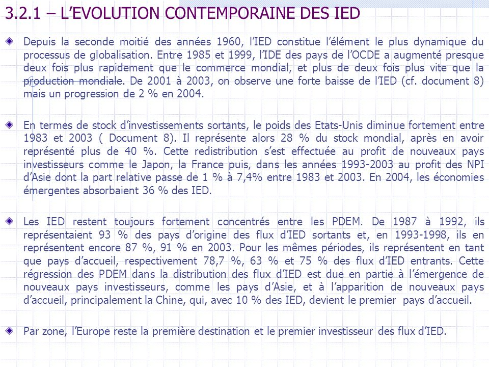 3.2.1 – L'EVOLUTION CONTEMPORAINE DES IED