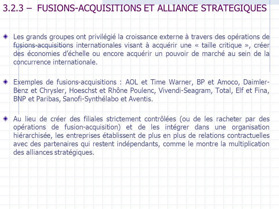 3.2.3 – FUSIONS-ACQUISITIONS ET ALLIANCE STRATEGIQUES
