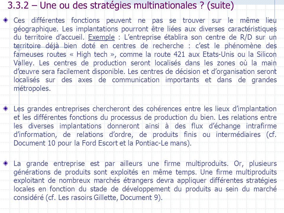 3.3.2 – Une ou des stratégies multinationales (suite)