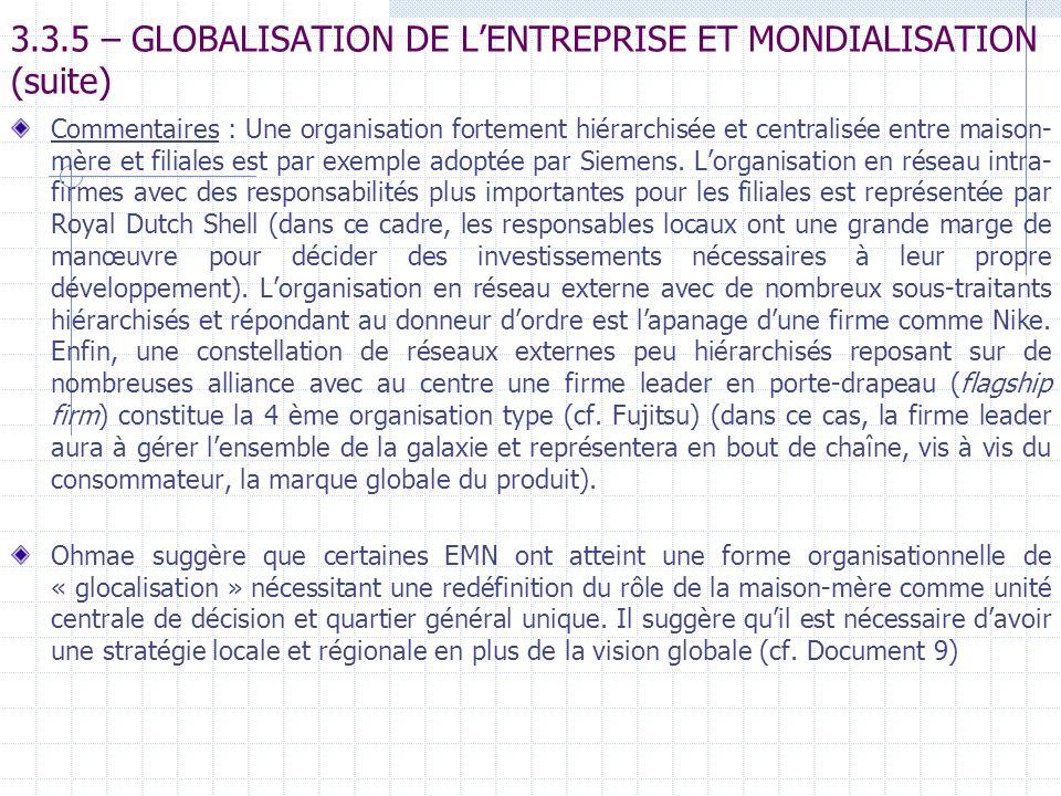 3.3.5 – GLOBALISATION DE L'ENTREPRISE ET MONDIALISATION (suite)