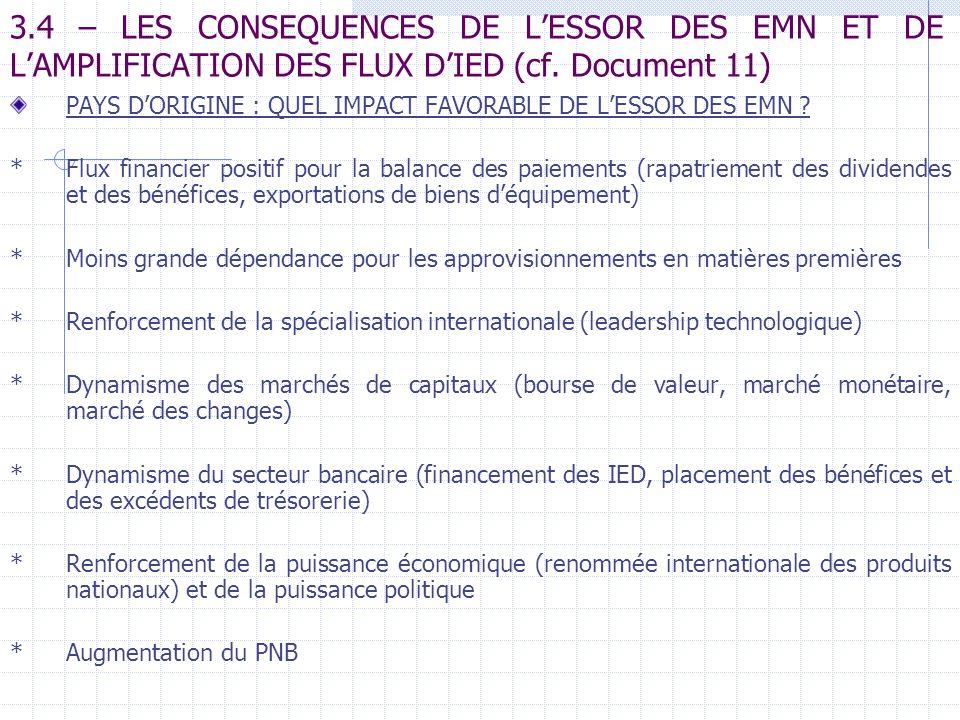 3.4 – LES CONSEQUENCES DE L'ESSOR DES EMN ET DE L'AMPLIFICATION DES FLUX D'IED (cf. Document 11)