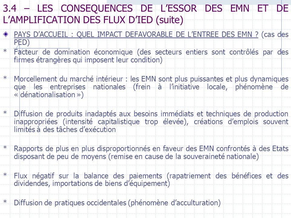 3.4 – LES CONSEQUENCES DE L'ESSOR DES EMN ET DE L'AMPLIFICATION DES FLUX D'IED (suite)