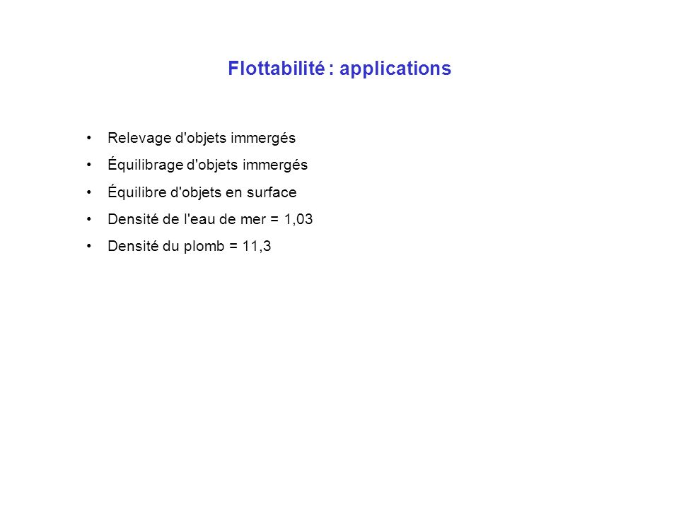 Flottabilité : applications