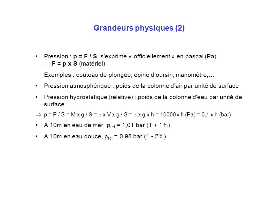 Grandeurs physiques (2)