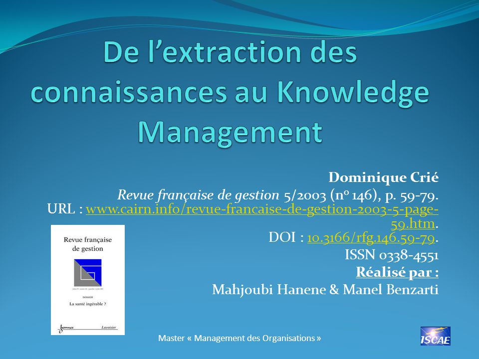 De l'extraction des connaissances au Knowledge Management
