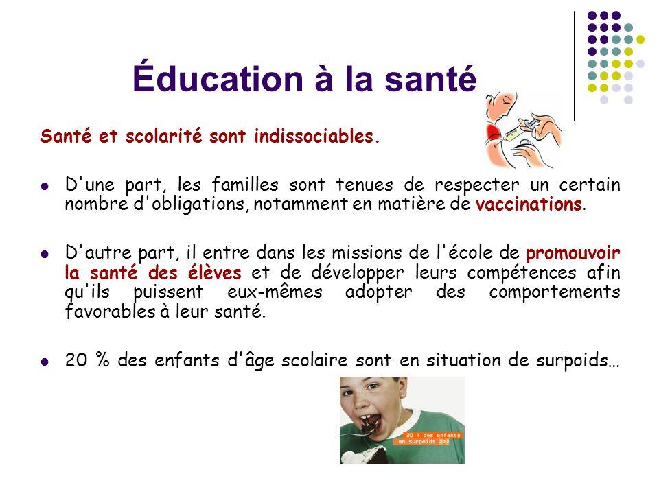 Éducation à la santé Santé et scolarité sont indissociables.