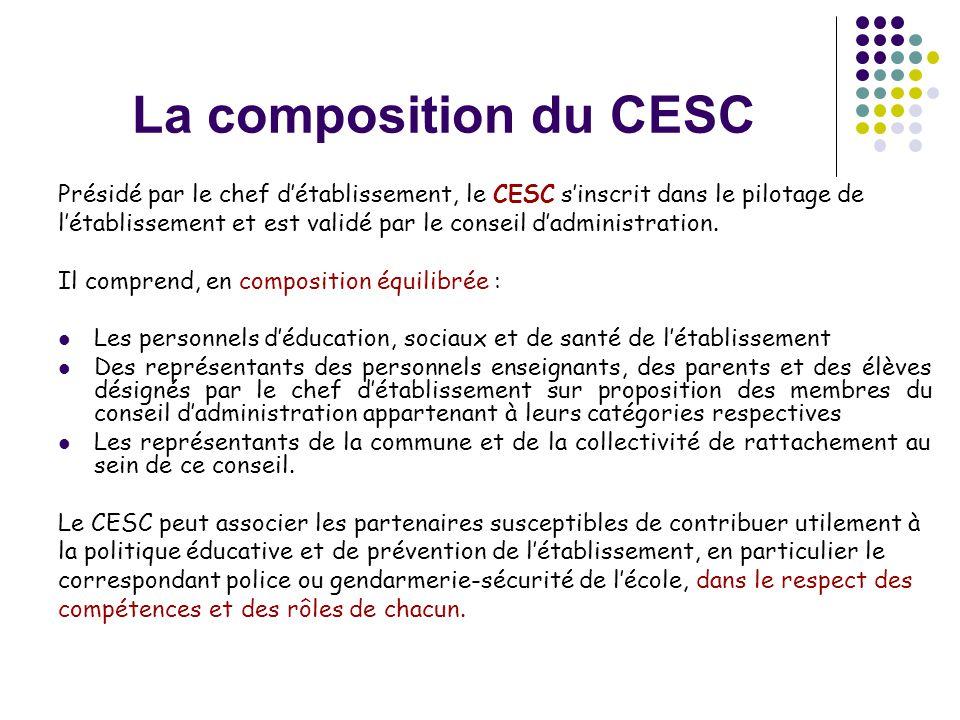 La composition du CESC Présidé par le chef d'établissement, le CESC s'inscrit dans le pilotage de.