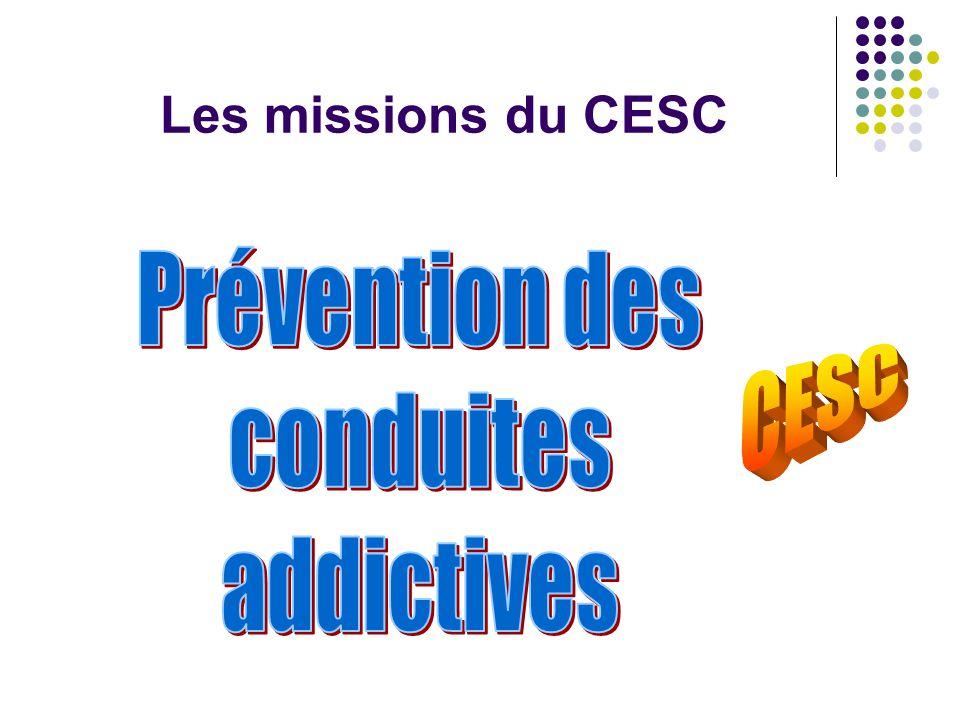 Les missions du CESC Prévention des conduites addictives CESC