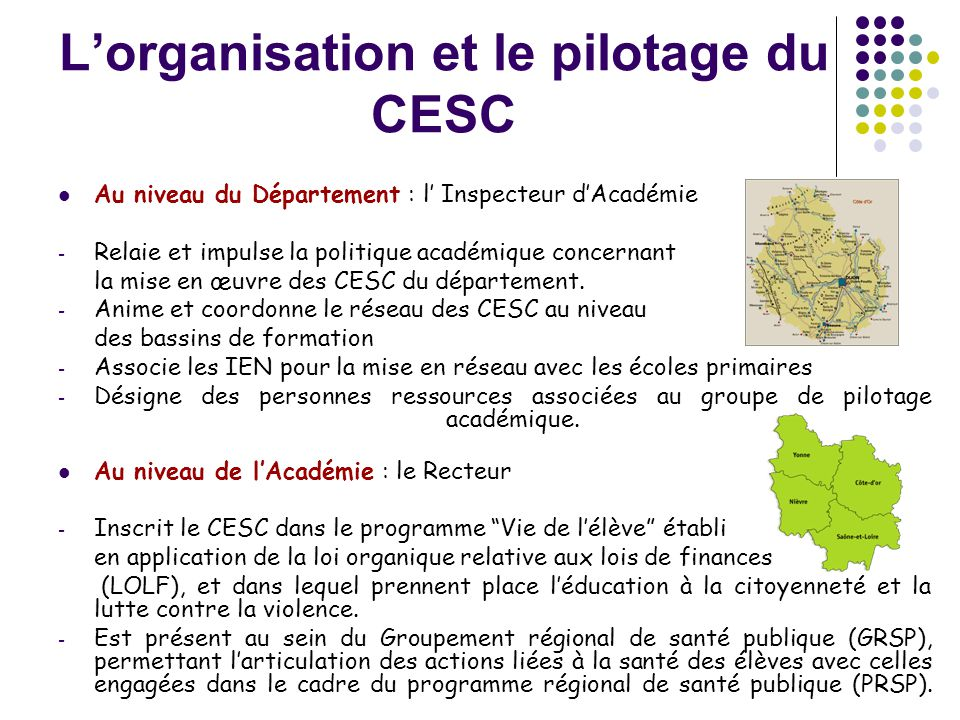 L'organisation et le pilotage du CESC