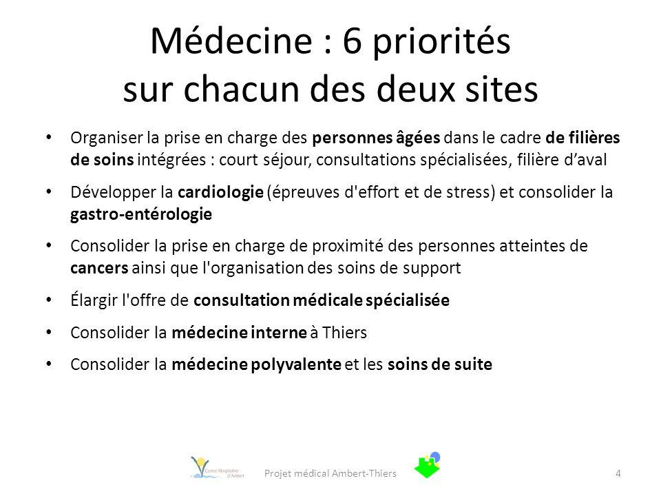 Médecine : 6 priorités sur chacun des deux sites