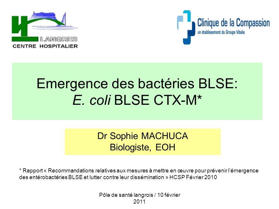 Emergence des bactéries BLSE: E. coli BLSE CTX-M*