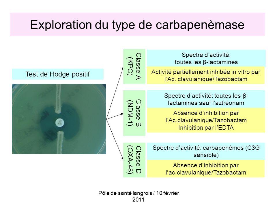 Exploration du type de carbapenèmase
