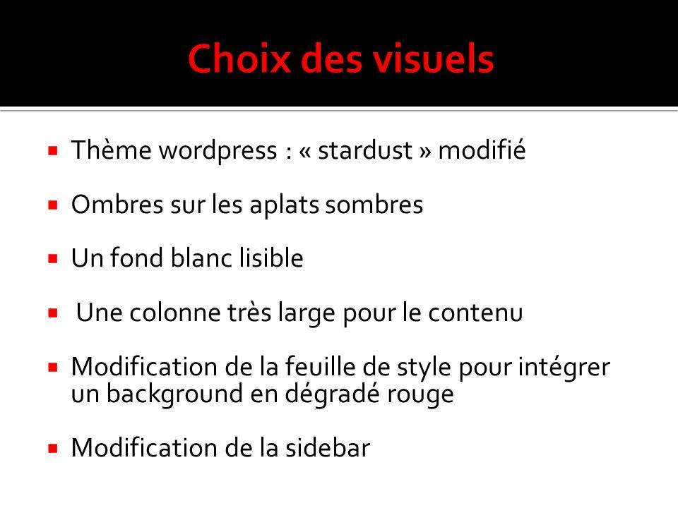 Choix des visuels Thème wordpress : « stardust » modifié