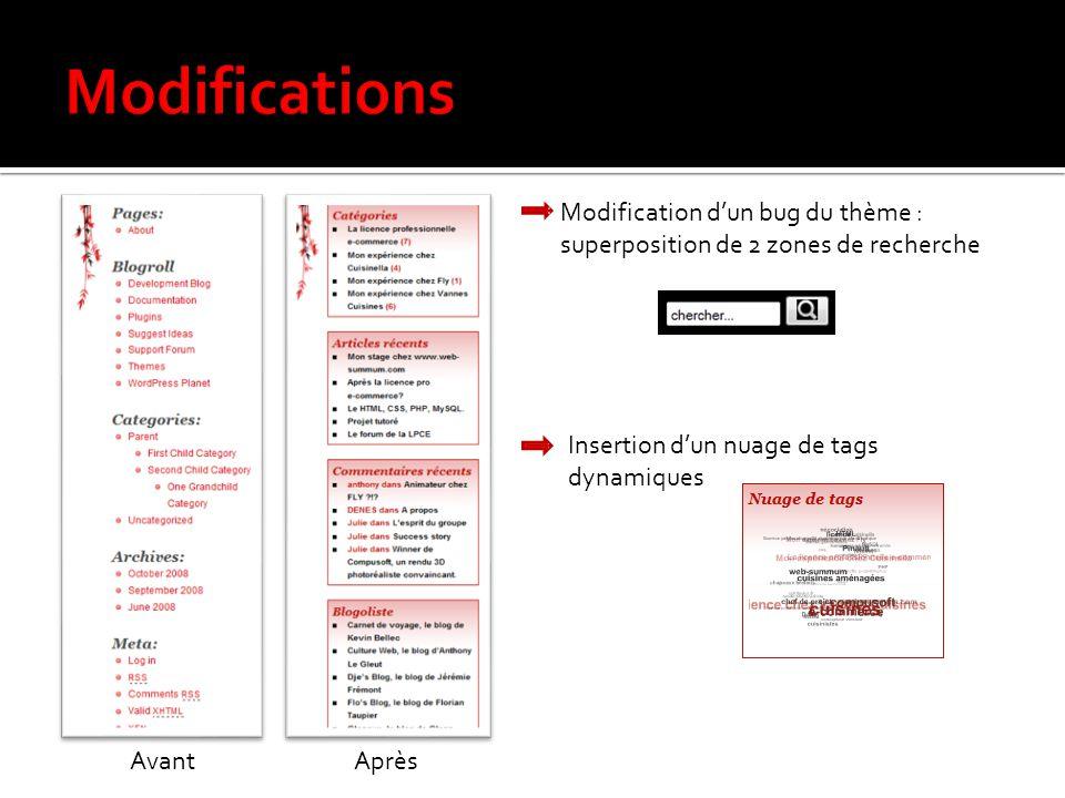 Modifications Modification d'un bug du thème : superposition de 2 zones de recherche. Insertion d'un nuage de tags dynamiques.