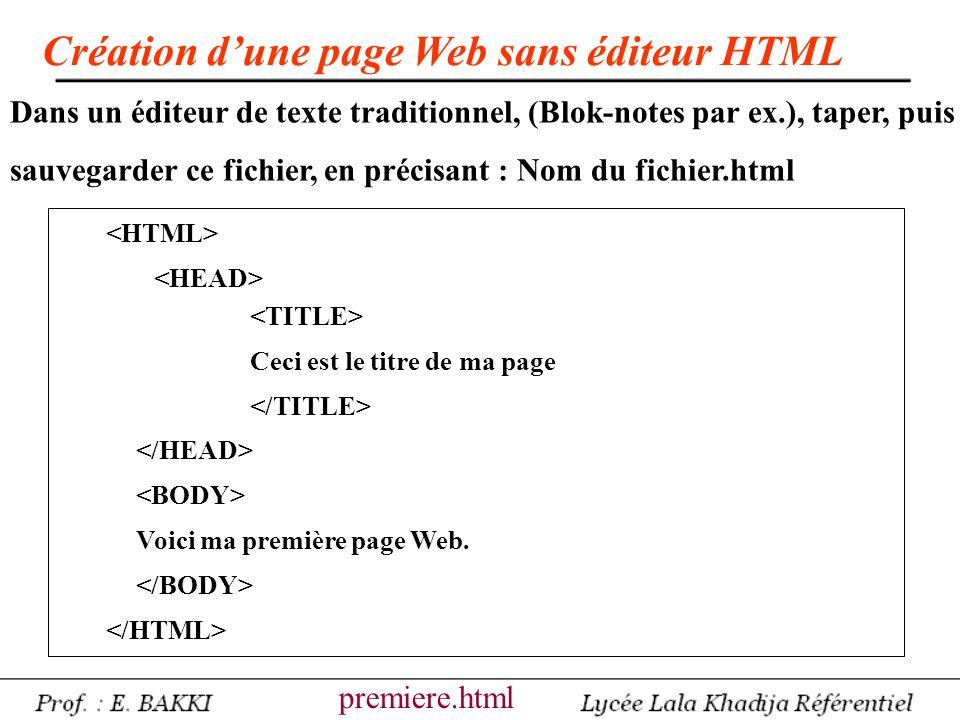 Création d'une page Web sans éditeur HTML