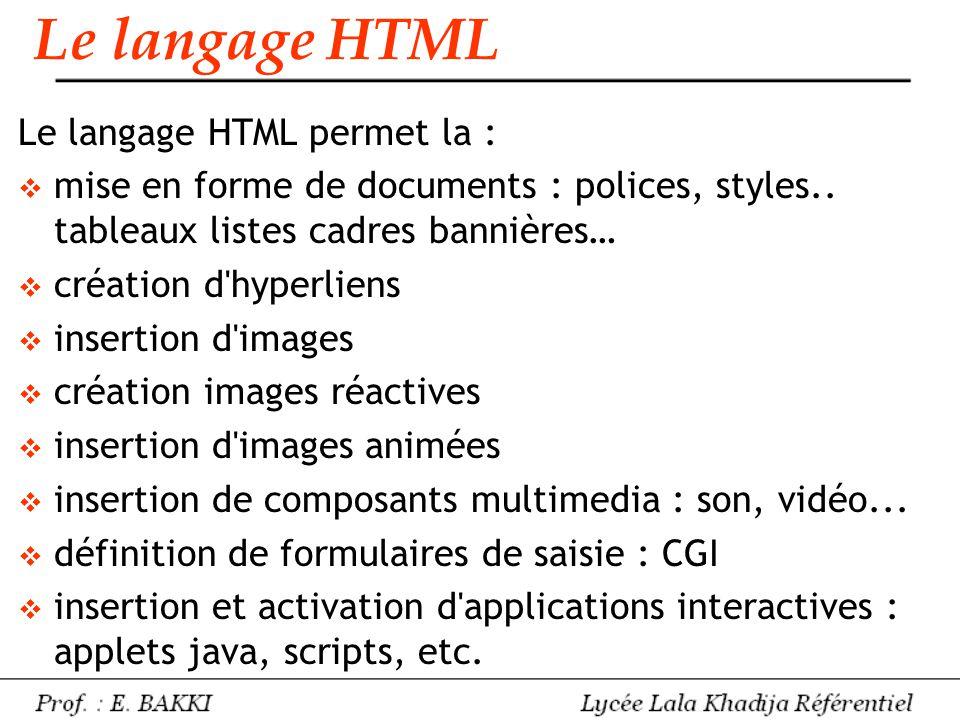 Le langage HTML Le langage HTML permet la :