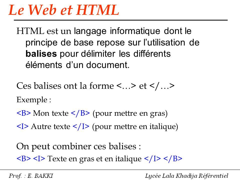 Le Web et HTML