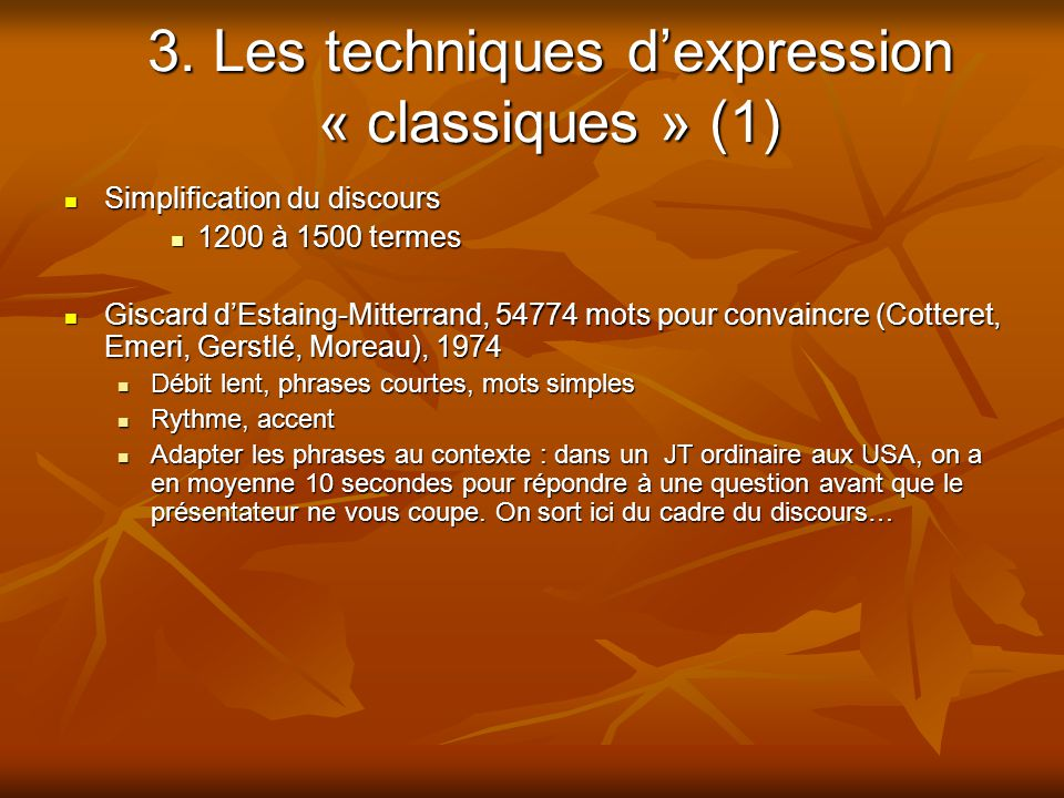 3. Les techniques d'expression « classiques » (1)