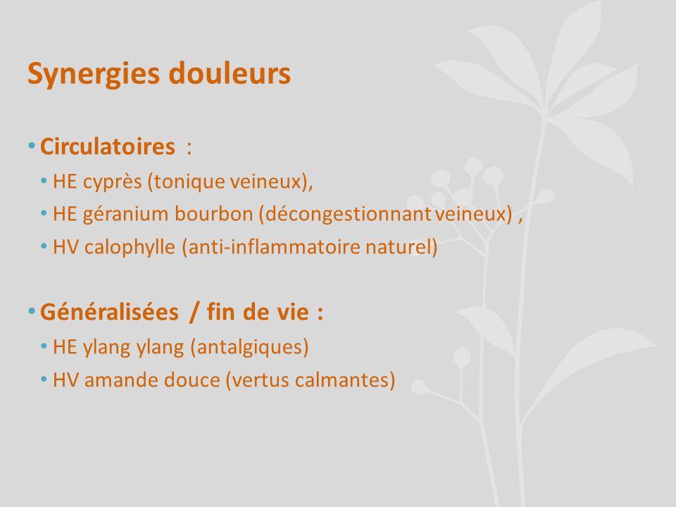 Synergies douleurs Circulatoires : Généralisées / fin de vie :