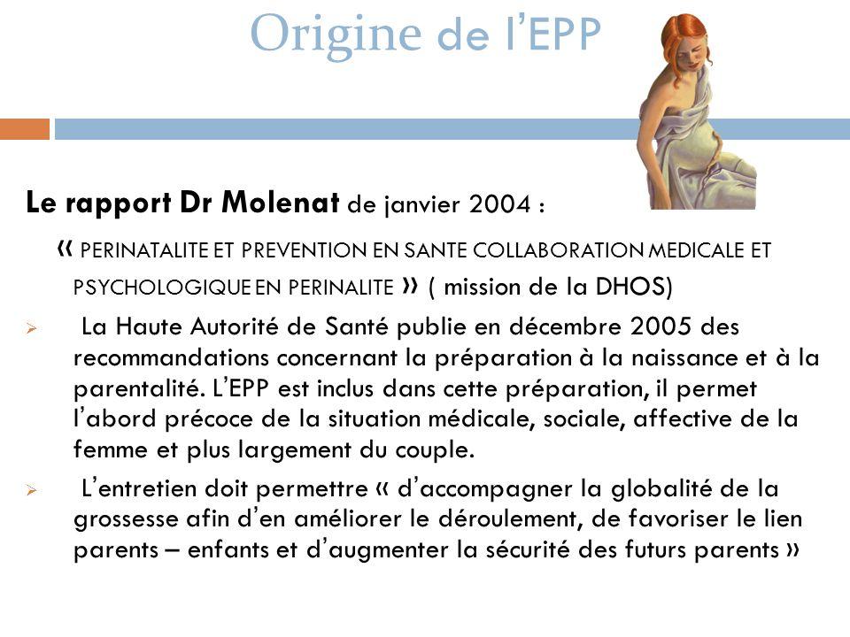Origine de l'EPP Le rapport Dr Molenat de janvier 2004 :