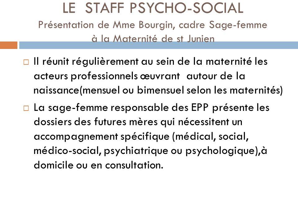 LE STAFF PSYCHO-SOCIAL Présentation de Mme Bourgin, cadre Sage-femme à la Maternité de st Junien