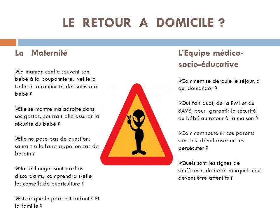 LE RETOUR A DOMICILE La Maternité L'Equipe médico-socio-éducative