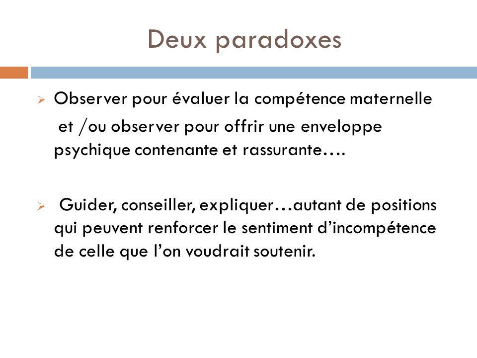 Deux paradoxes Observer pour évaluer la compétence maternelle