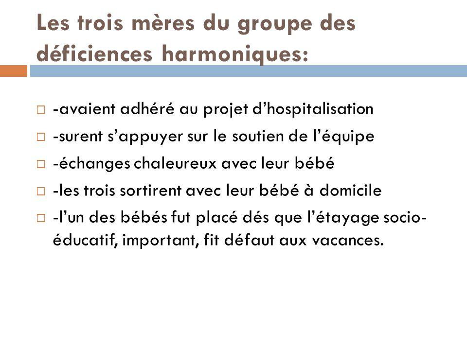 Les trois mères du groupe des déficiences harmoniques: