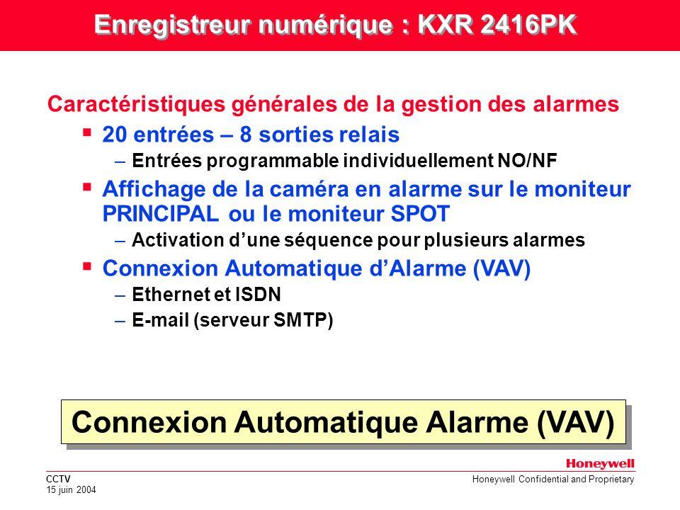 Enregistreur numérique : KXR 2416PK Connexion Automatique Alarme (VAV)