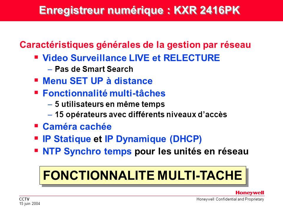 Enregistreur numérique : KXR 2416PK FONCTIONNALITE MULTI-TACHE