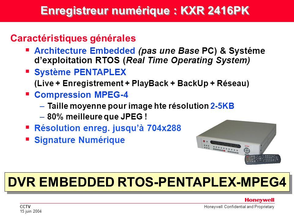 Enregistreur numérique : KXR 2416PK DVR EMBEDDED RTOS-PENTAPLEX-MPEG4