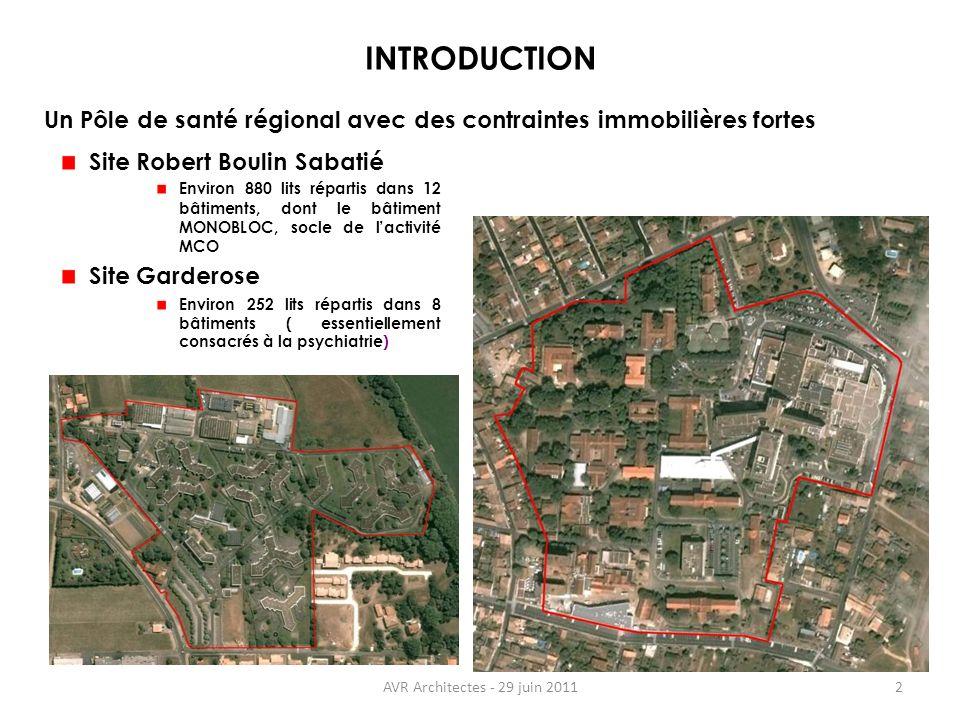 INTRODUCTION Un Pôle de santé régional avec des contraintes immobilières fortes. Site Robert Boulin Sabatié.