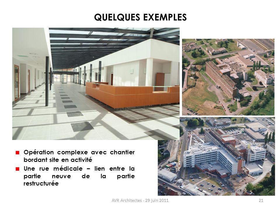 QUELQUES EXEMPLES Opération complexe avec chantier bordant site en activité. Une rue médicale – lien entre la partie neuve de la partie restructurée.