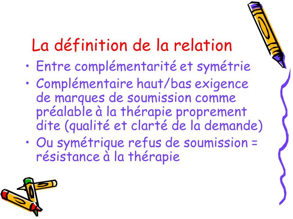 La définition de la relation